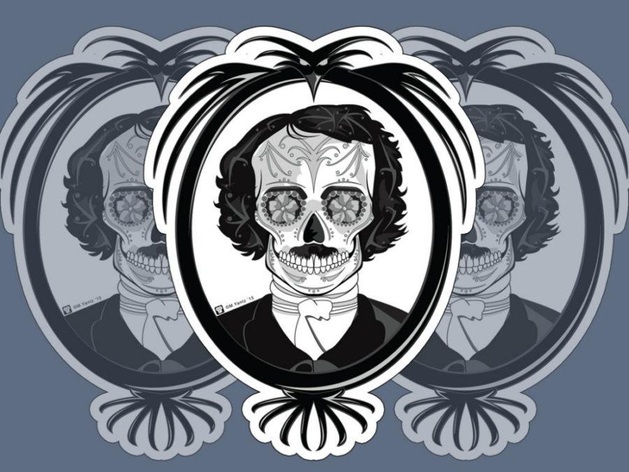 Edgar Allen Poe sugar skull print