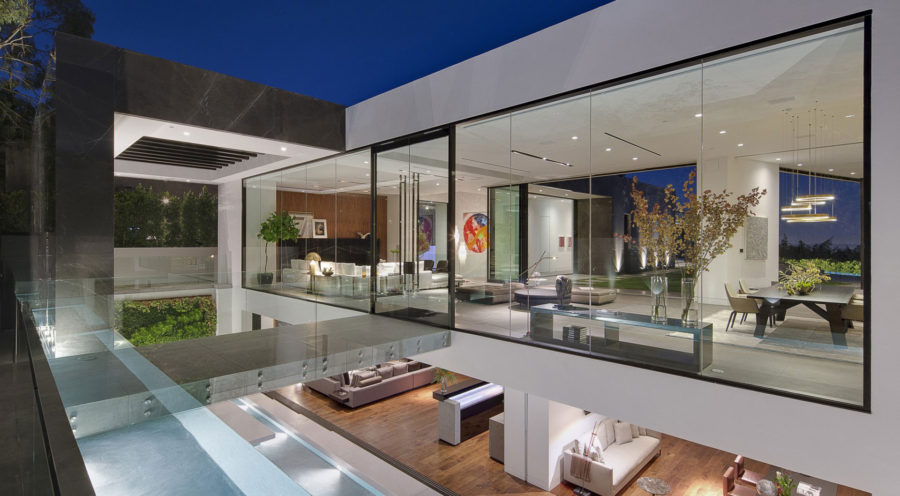 Elevated glass house