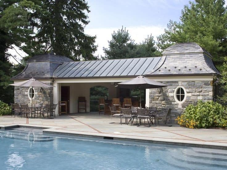 English style building with pool