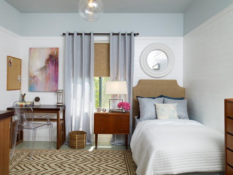 Erica Islas blue and beige contemporary-bedroom