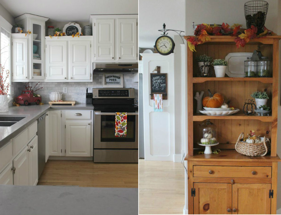 Fall accents for a kitchen cupboard