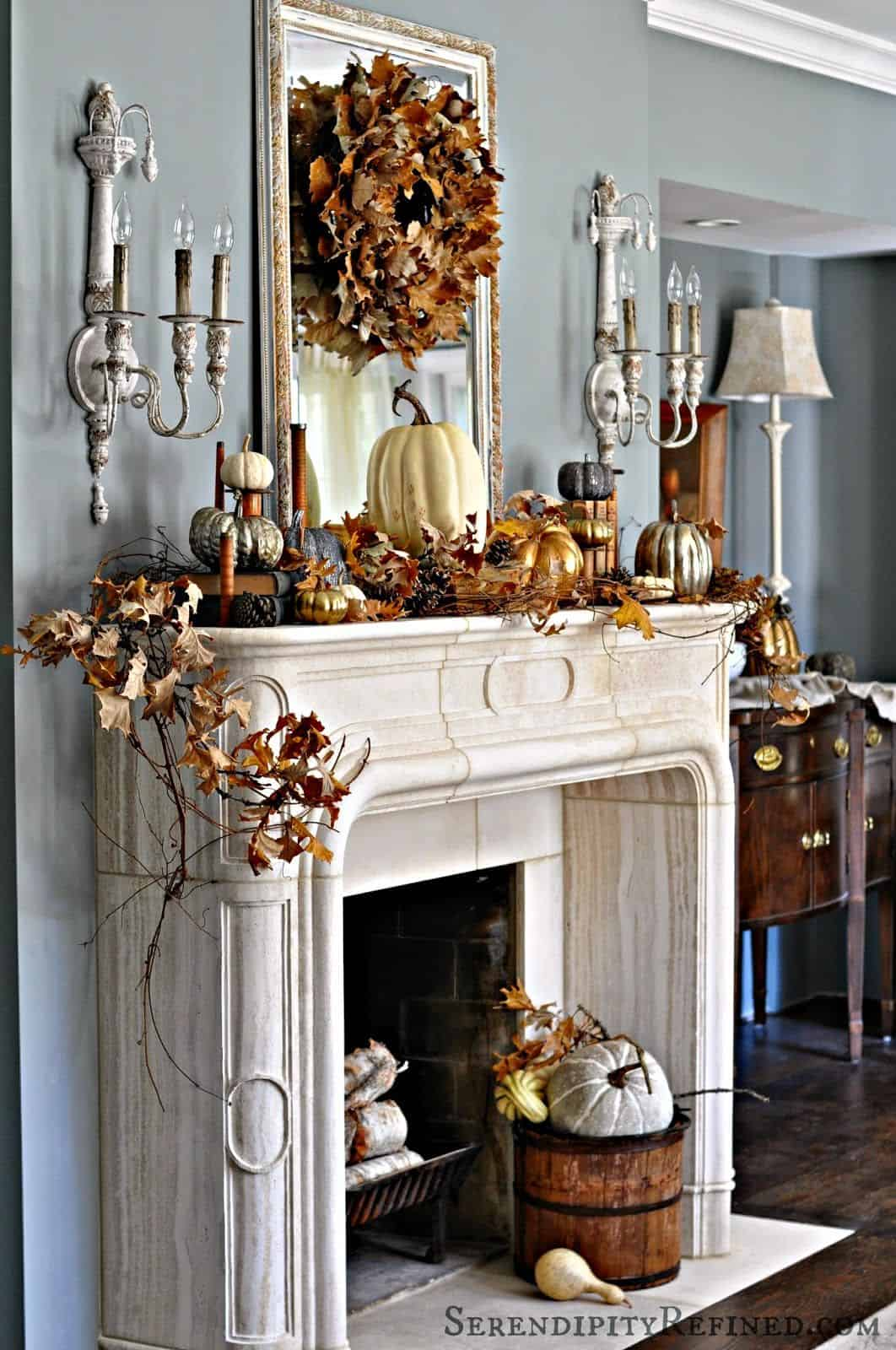 fall-decorated-white-fireplace