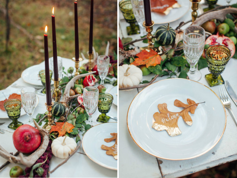 Fall forest wedding table