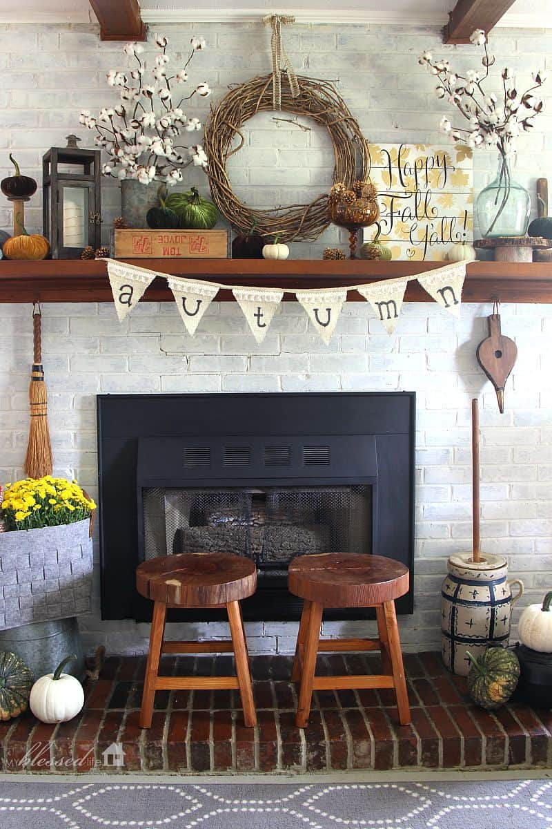View In Gallery Fall Mantel Decor Idea