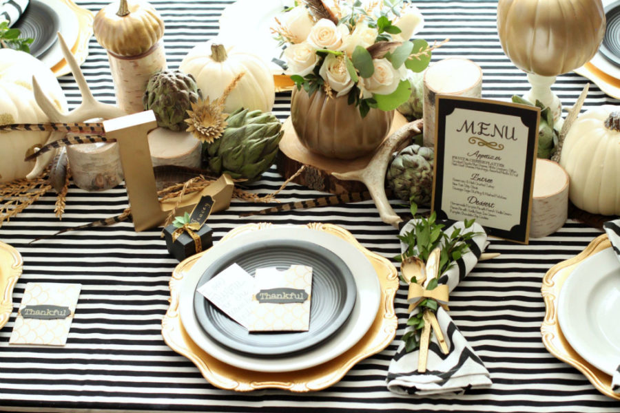 Fall table decor with stripes