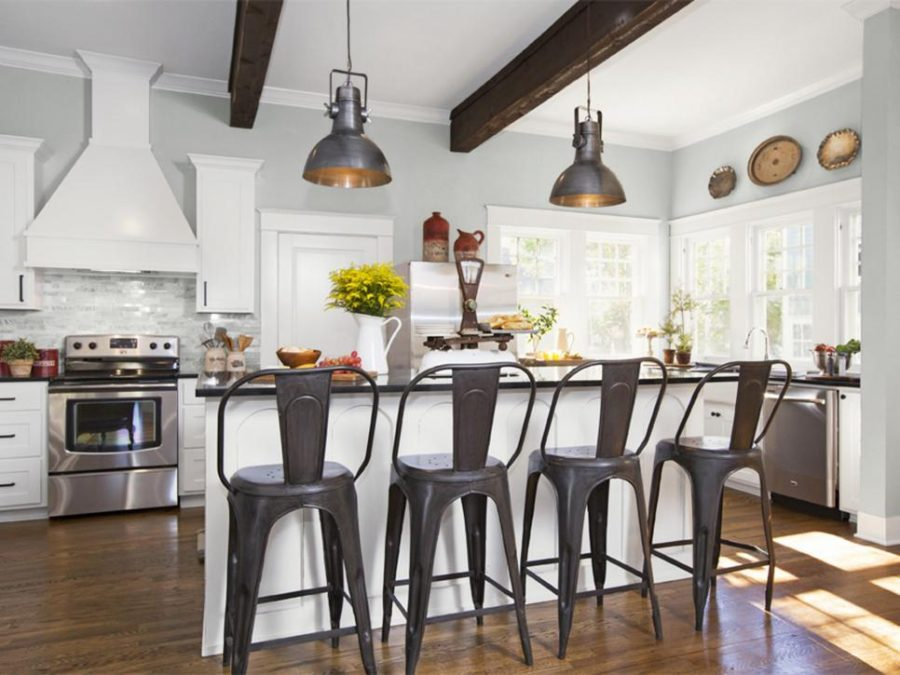 Farmhouse kitchen style with metallic bar chairs