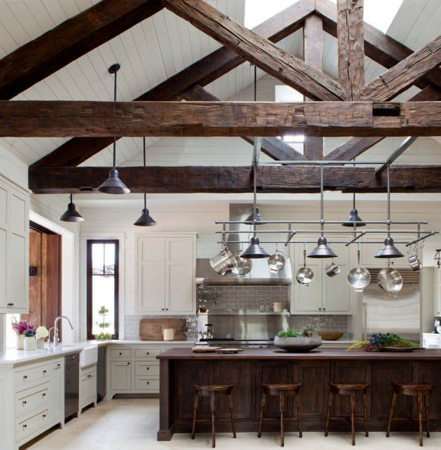 Farmhouse with wood beams and raw edges of wood