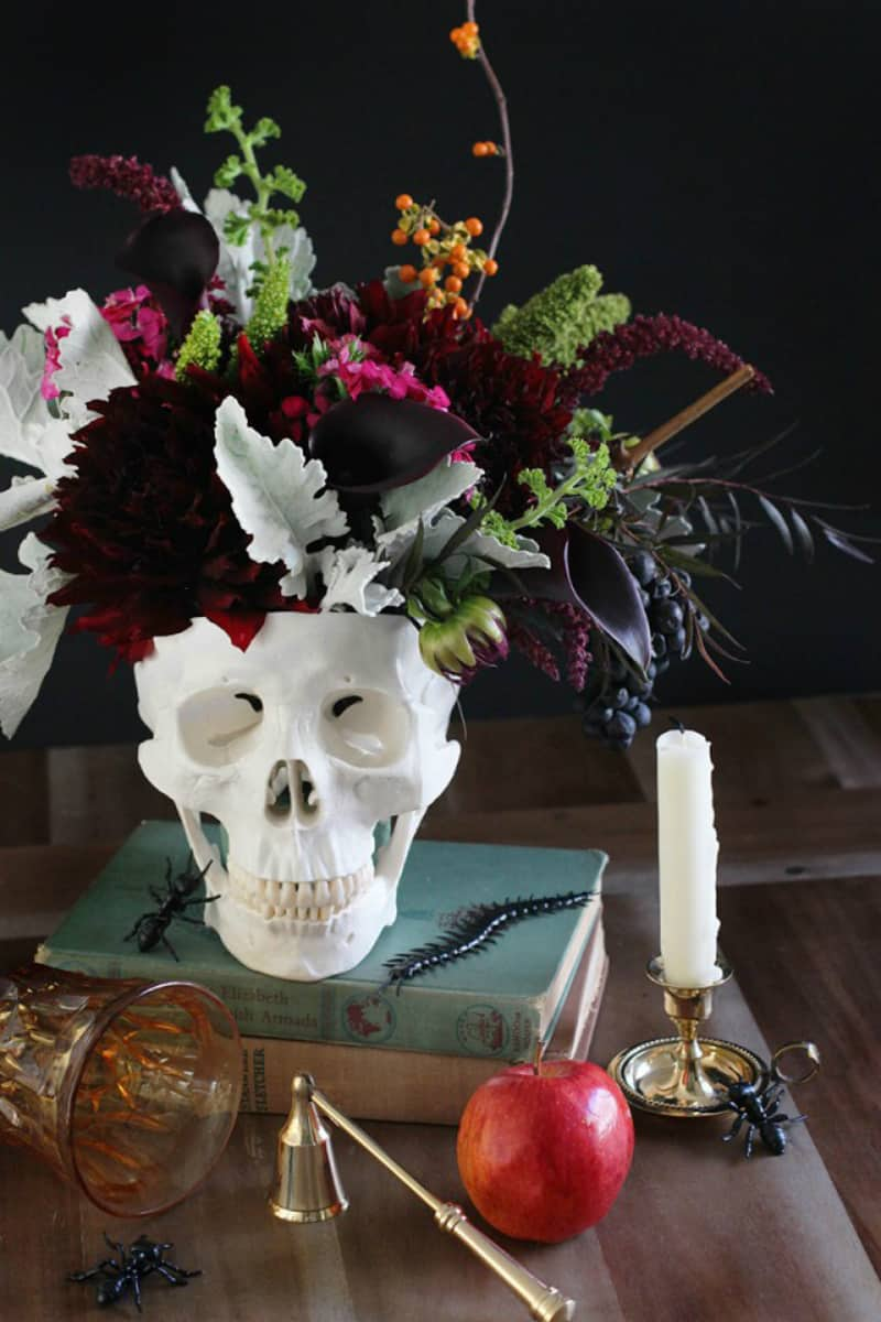 Floral Halloween centerpiece
