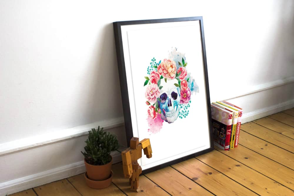 floral-skull-printable-wall-art-watercolor-day-of-the-dead-skull-poster