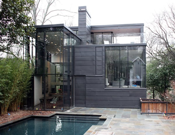 Forest black glass house