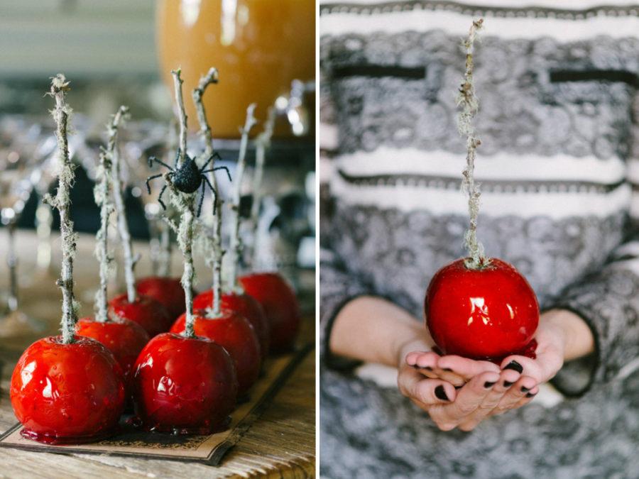 Glazed blood red apples
