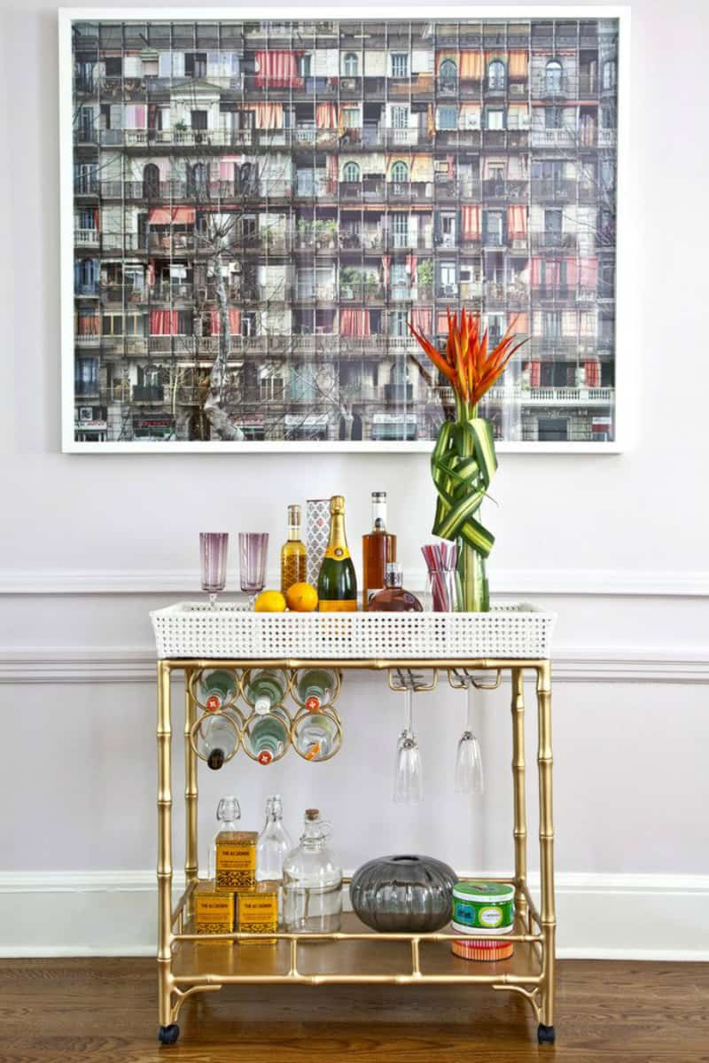 Golden brass cart bar 35 Chic Home Bar Designs You Need to See to Believe