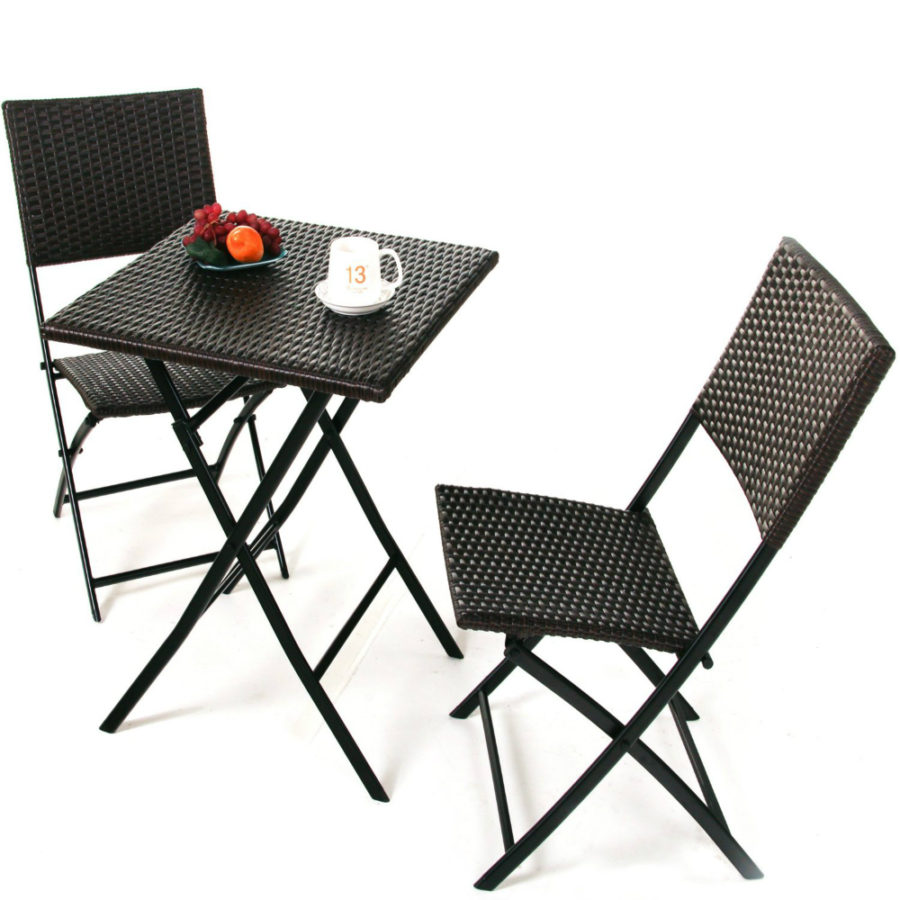 Grand Patio Wood-like Resin Rattan Foldable Parma Bistro Set of 3 PCS