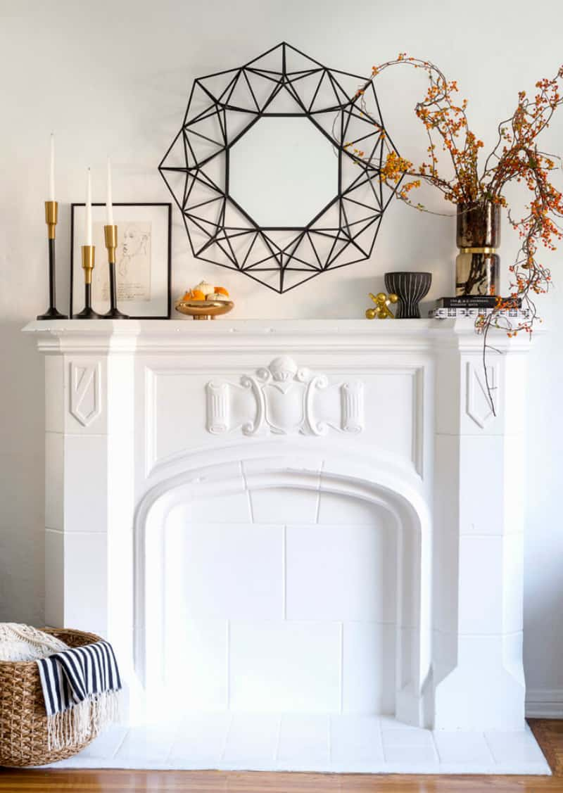 Graphic fall mantel decor