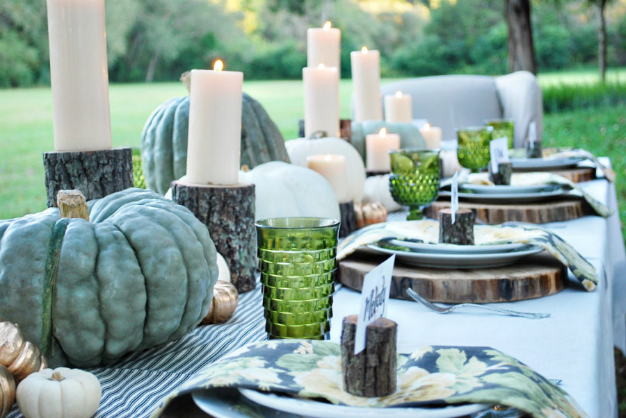 Green fall table decor