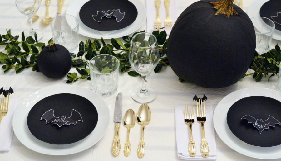 Halloween bat decoration tablescape