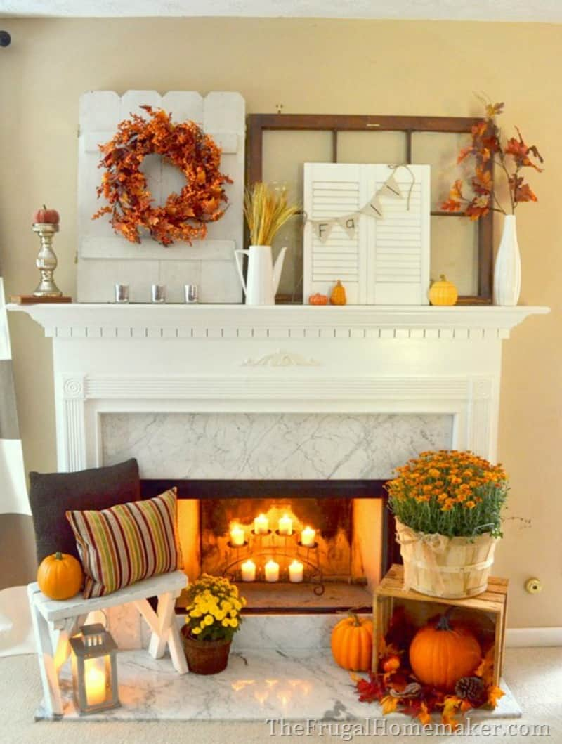 halloween-pumpkins-to-decorate-the-fireplace