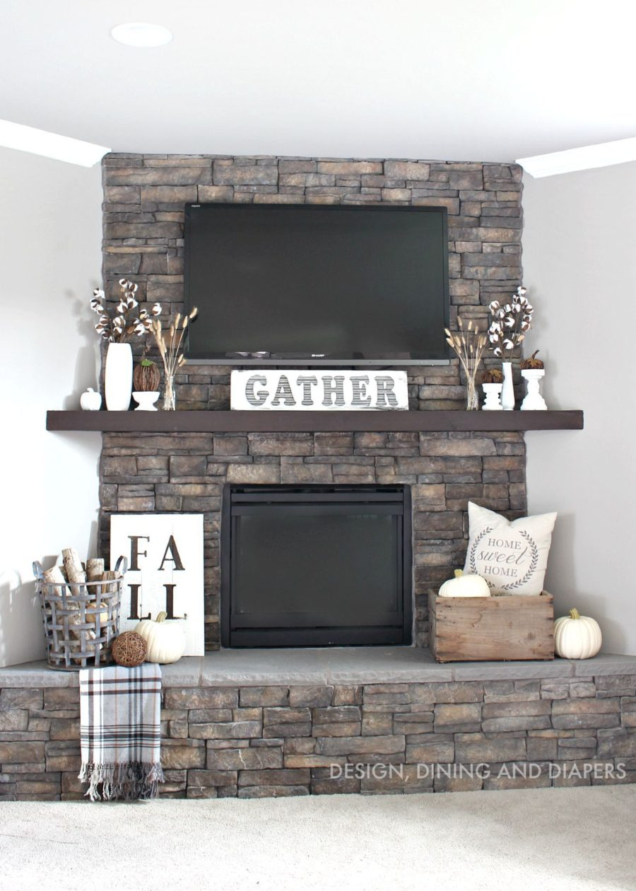 15 fall decor ideas for your fireplace mantle for Decor over fireplace