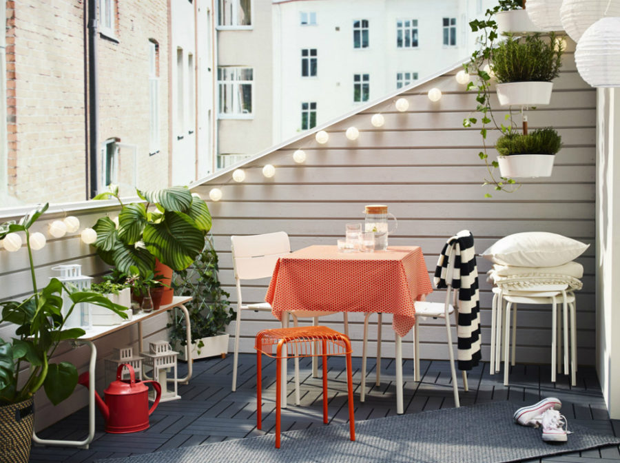 IKEA balcony table and stool