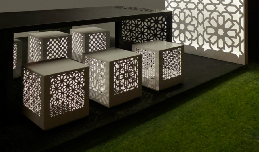 Illuminated garden stools