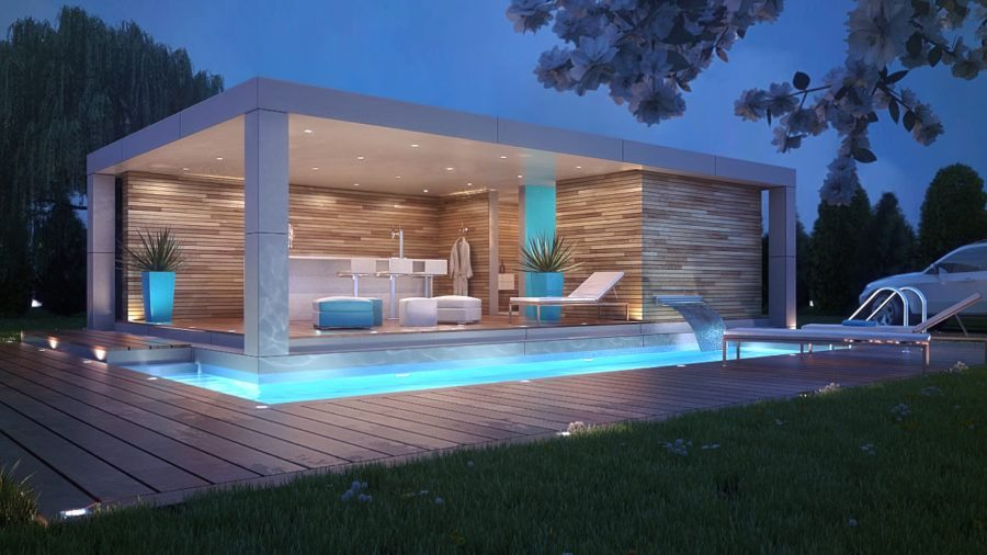 Luxury pool with led lights on night