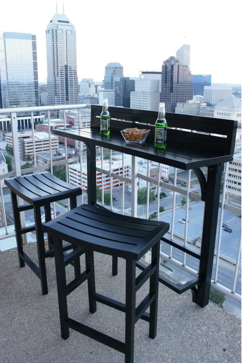 Balcony chair and table design ideas for urban outdoors for Balcony bar top