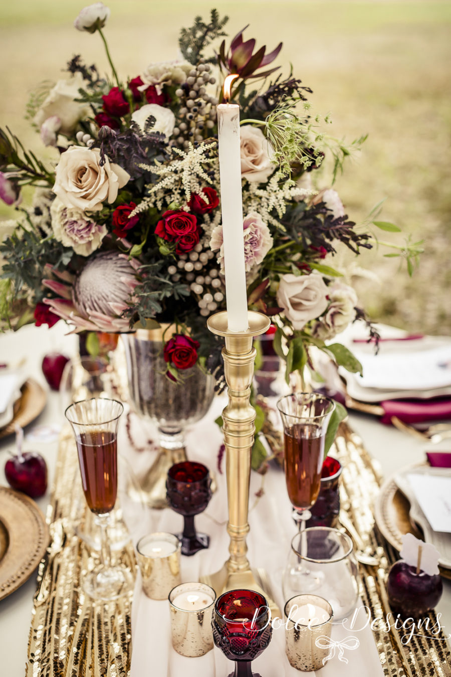 Marsala fall wedding table setting