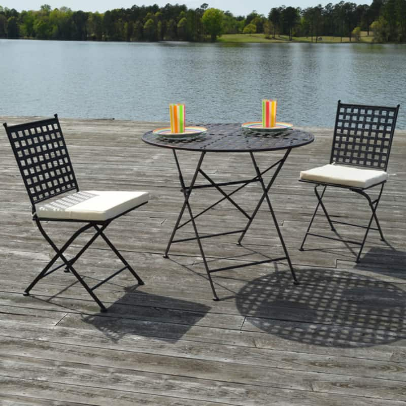 View In Gallery Marseille Black Steel Three Piece Bistro Set