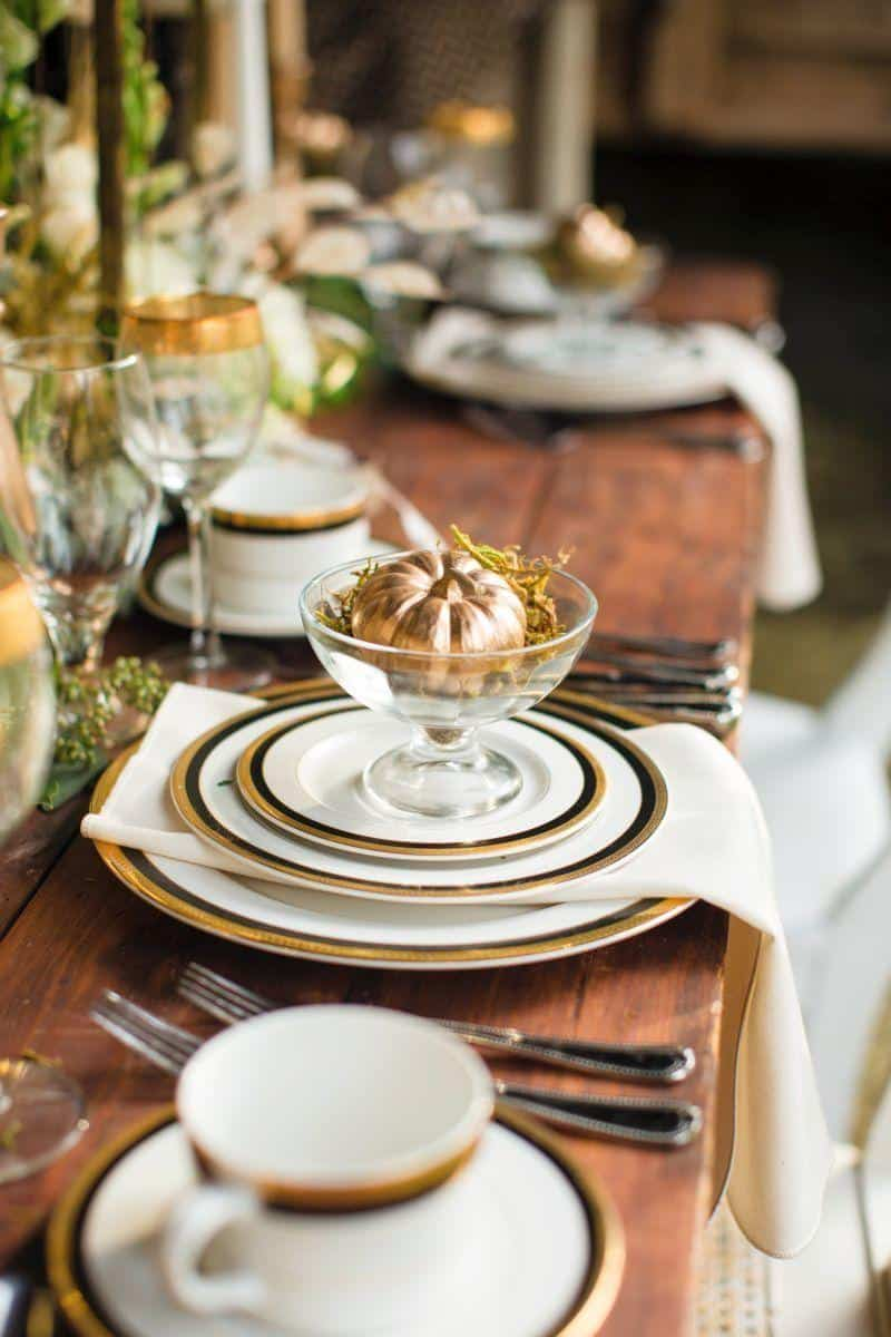 Metallic pumpkin table accents