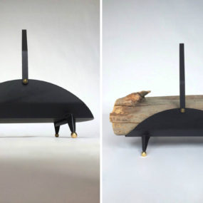 Mid Century Modern Fireplace Log Holder Brass and Black Steel Tony Paul 285x285 Light Up Your Fire With These Modern Fireplace Tools
