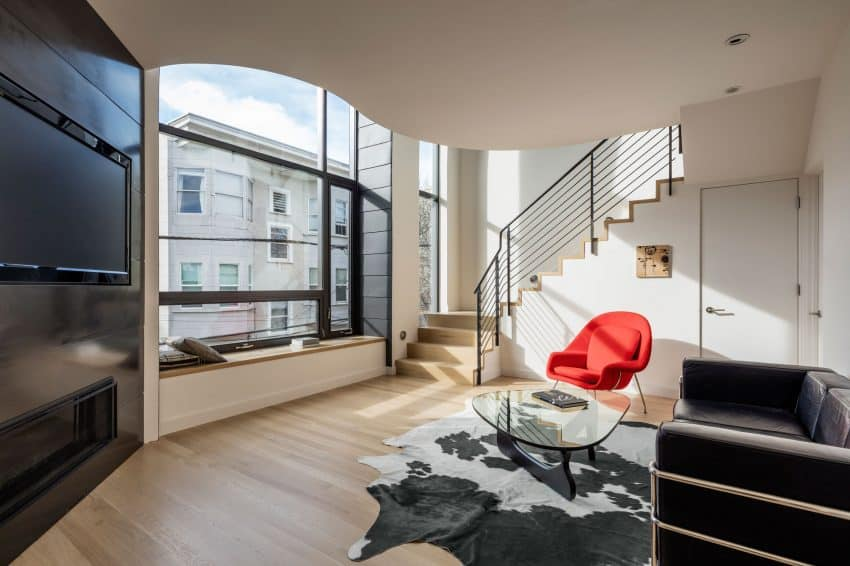 Minimalist living room full of architectural details San Francisco Apartment Building Becomes Linden Street Jewel