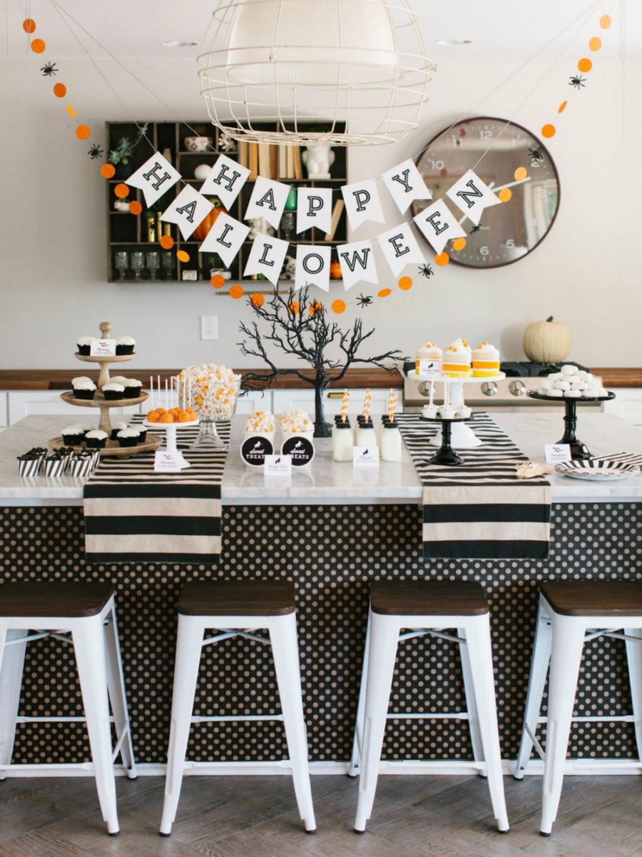 Modern Halloween sweet buffet
