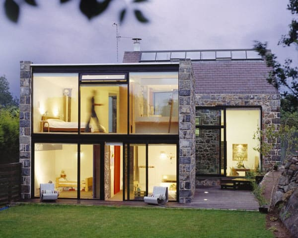 Old brik house with glass windows