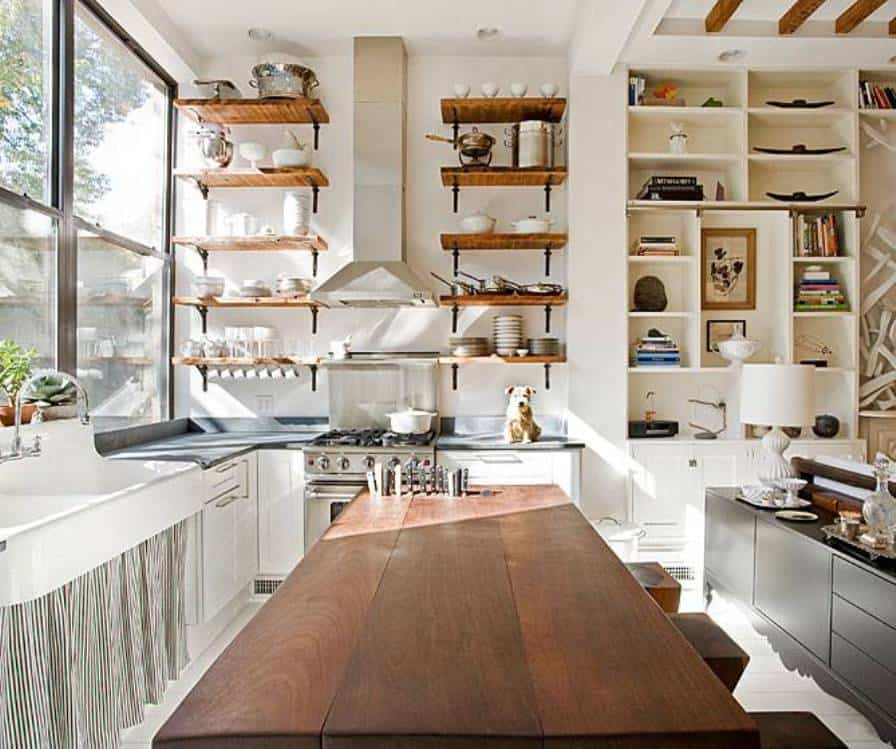 Open shelving farmhouse design