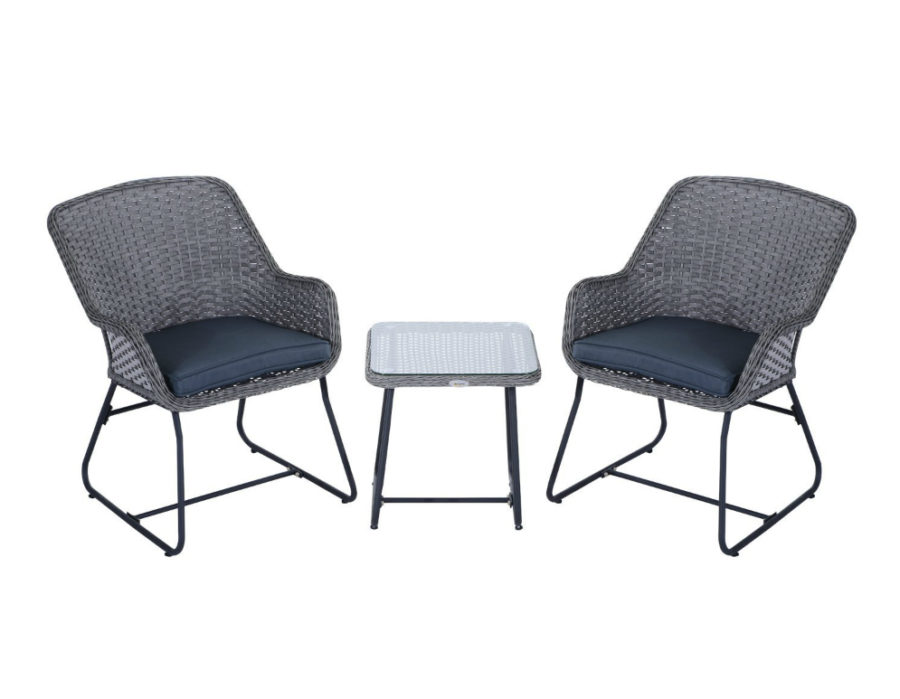 Outsunny 3-Piece Outdoor Rattan Wicker Bistro Dining Set
