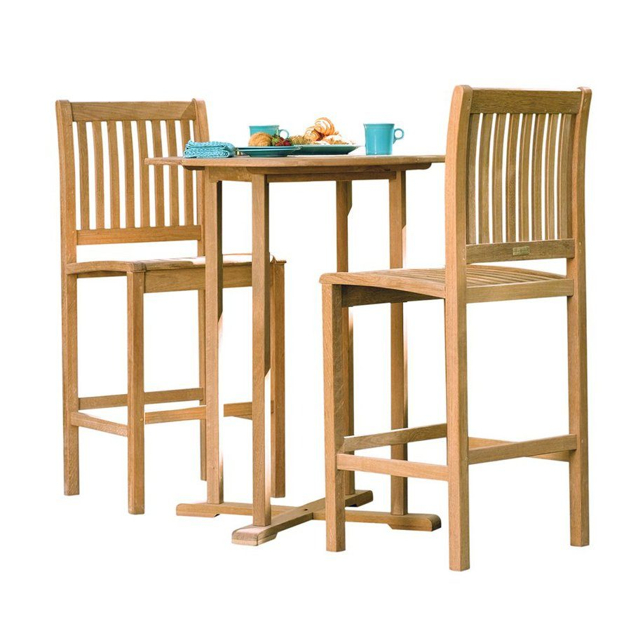 Oxford Garden Sonoma 3-Piece Natural Shorea Bar Patio Dining Set