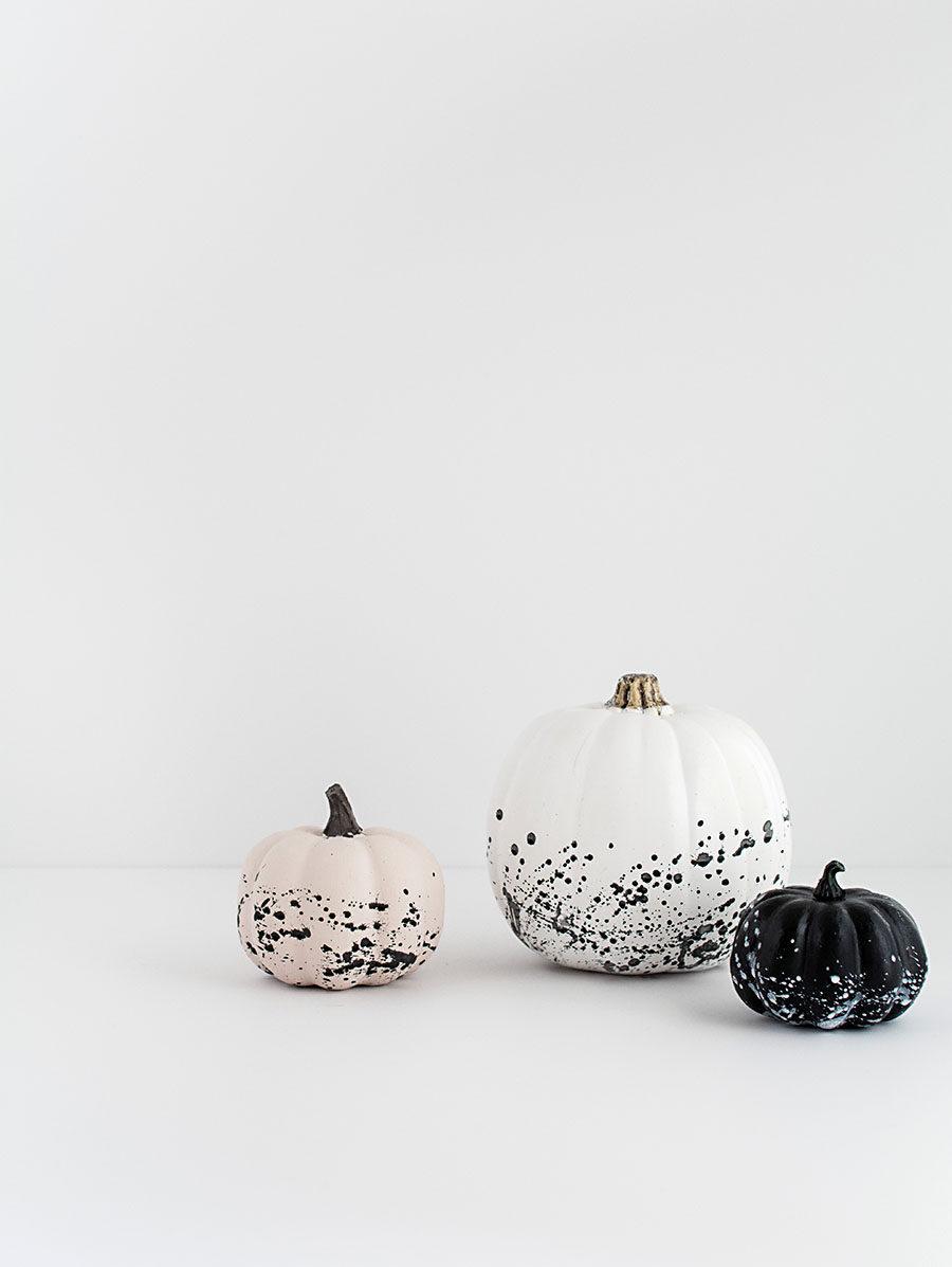 Paint-splattered pumpkins