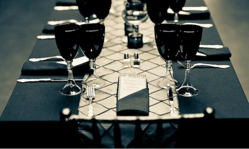 Pitch black Halloween tablescape