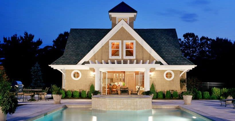 Pool house design with vacation vibe