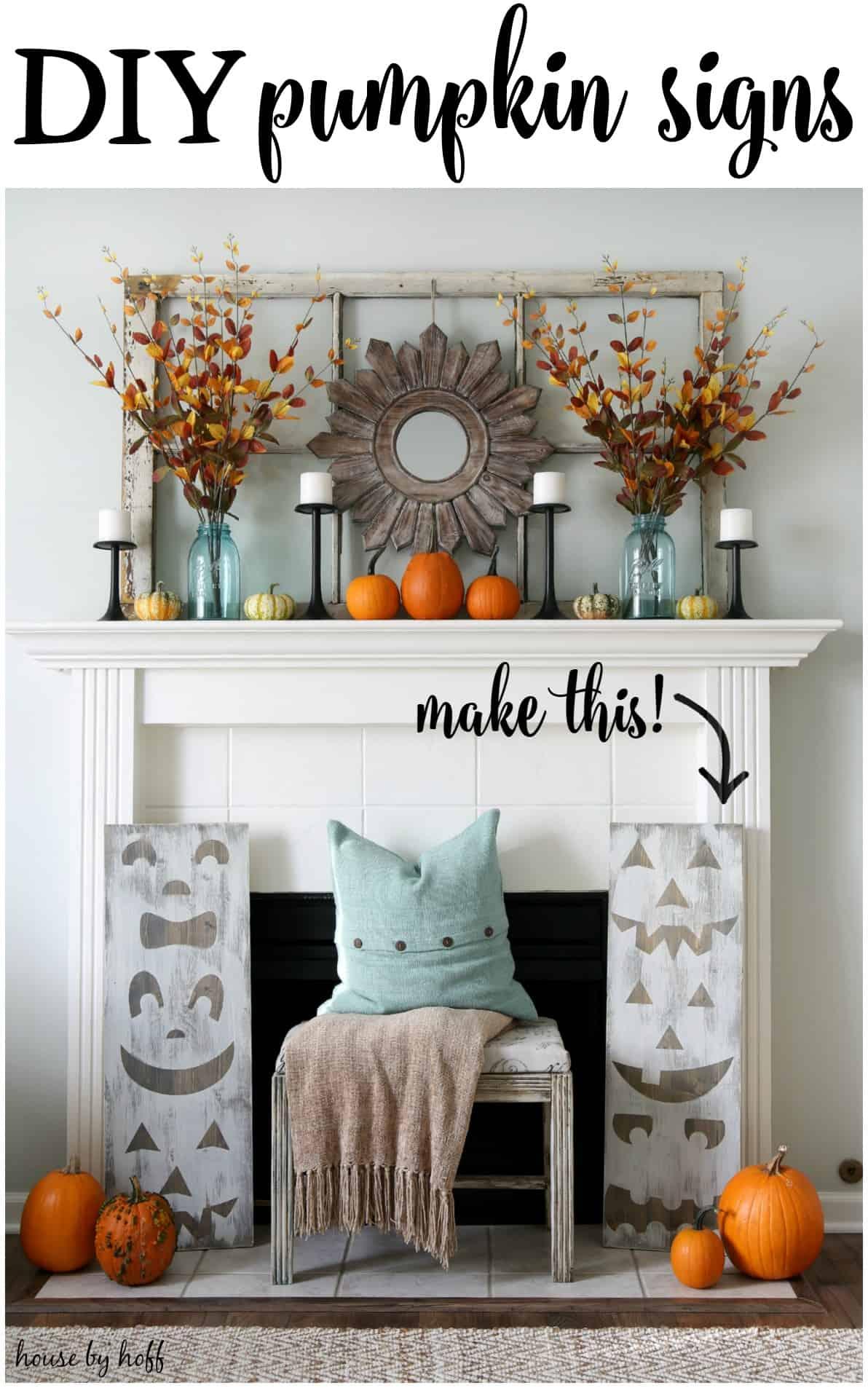 pumpkin-decoration-for-fall-fireplace