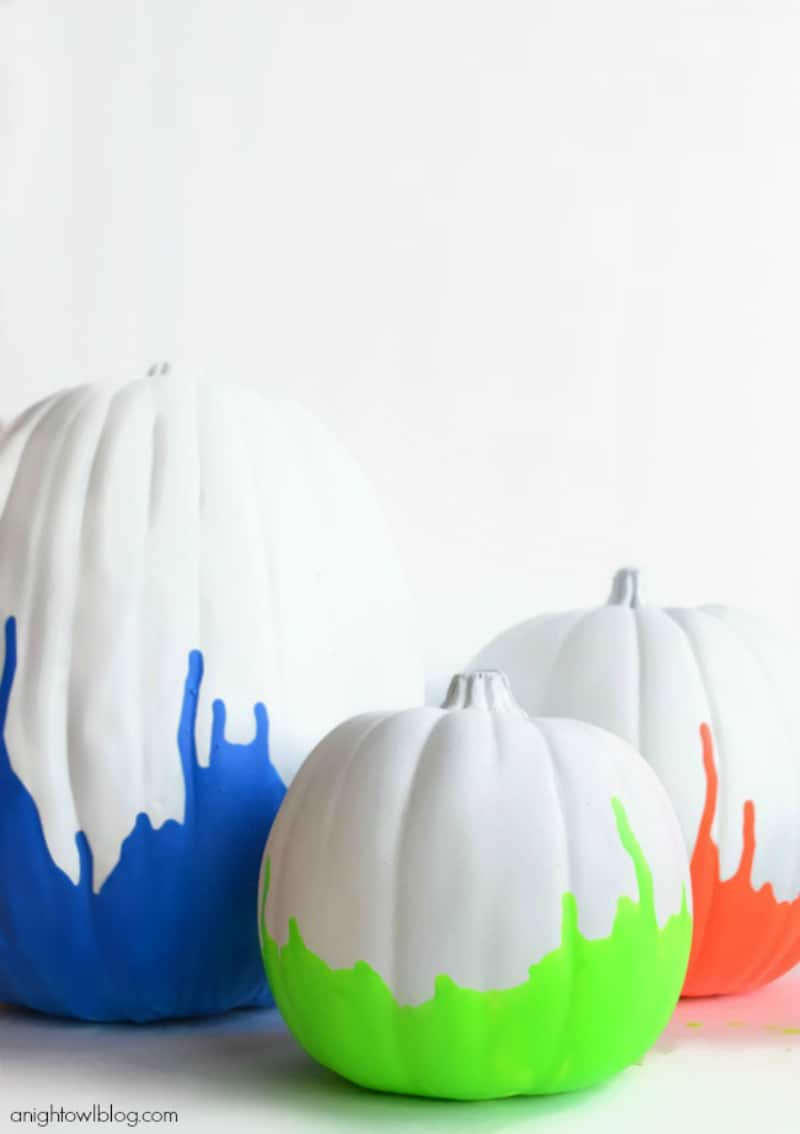 Pumpkins dipped in neon paint