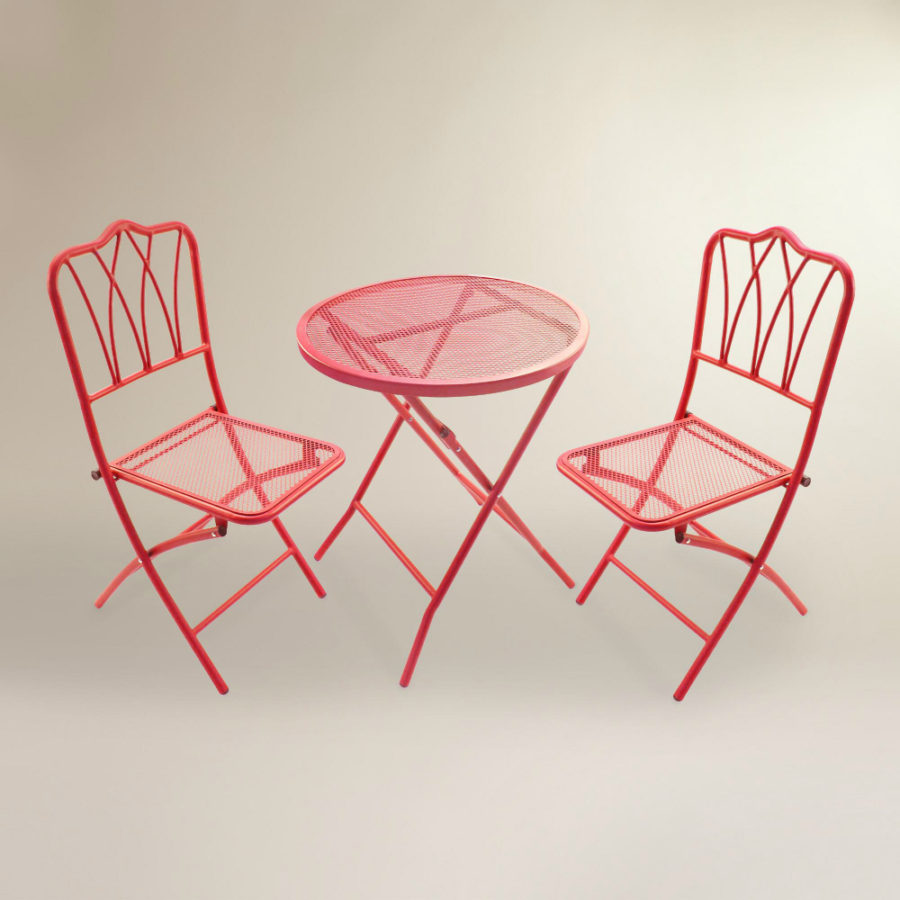 Red Metal 3-Piece Outdoor Bistro Set