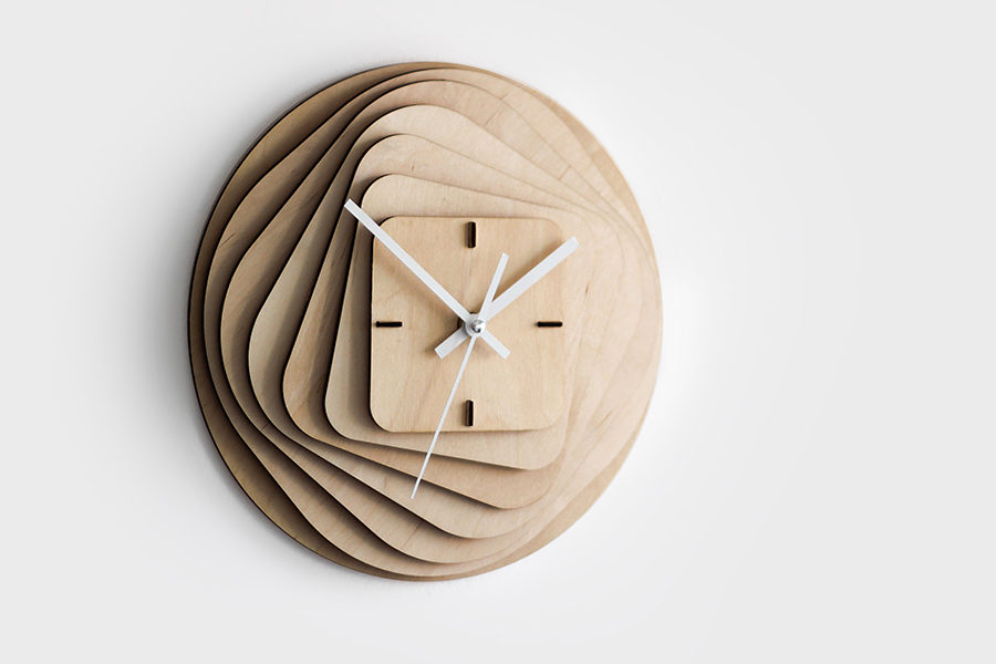 RoundSquare Wooden Clock by Gorjup Design