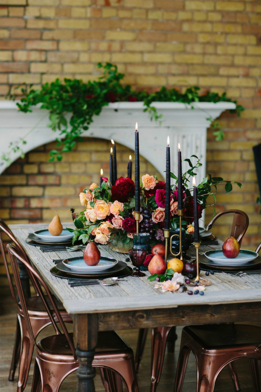 Rustic modern fall tablescape