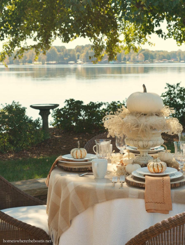 Scenic fall themed tablescape