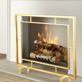 Shay Glass Fireplace Screen 285x285 Light Up Your Fire With These Modern Fireplace Tools