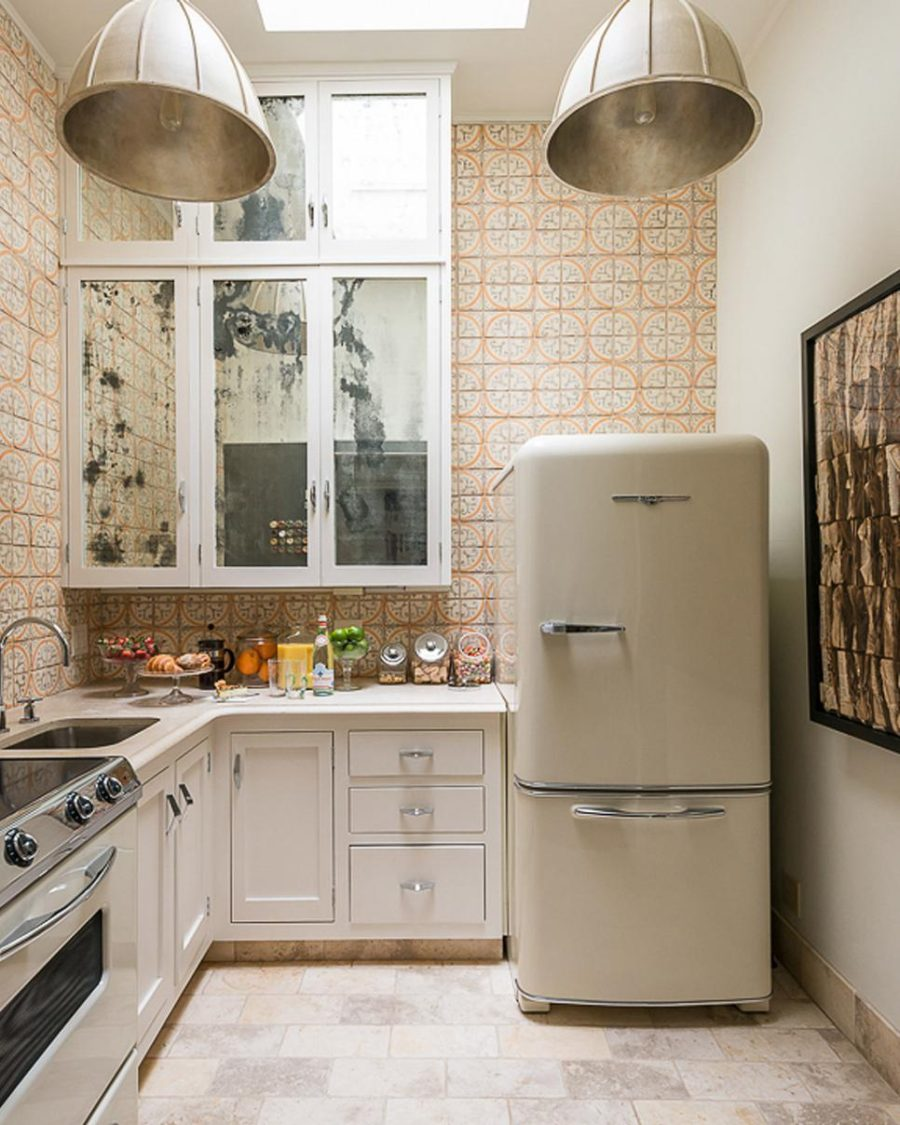 Small kitchen with retro fridge and Italian-style tile