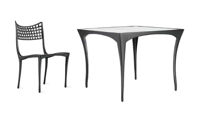 Sol-y Luna Square Dining Table and Armless Dining Chair