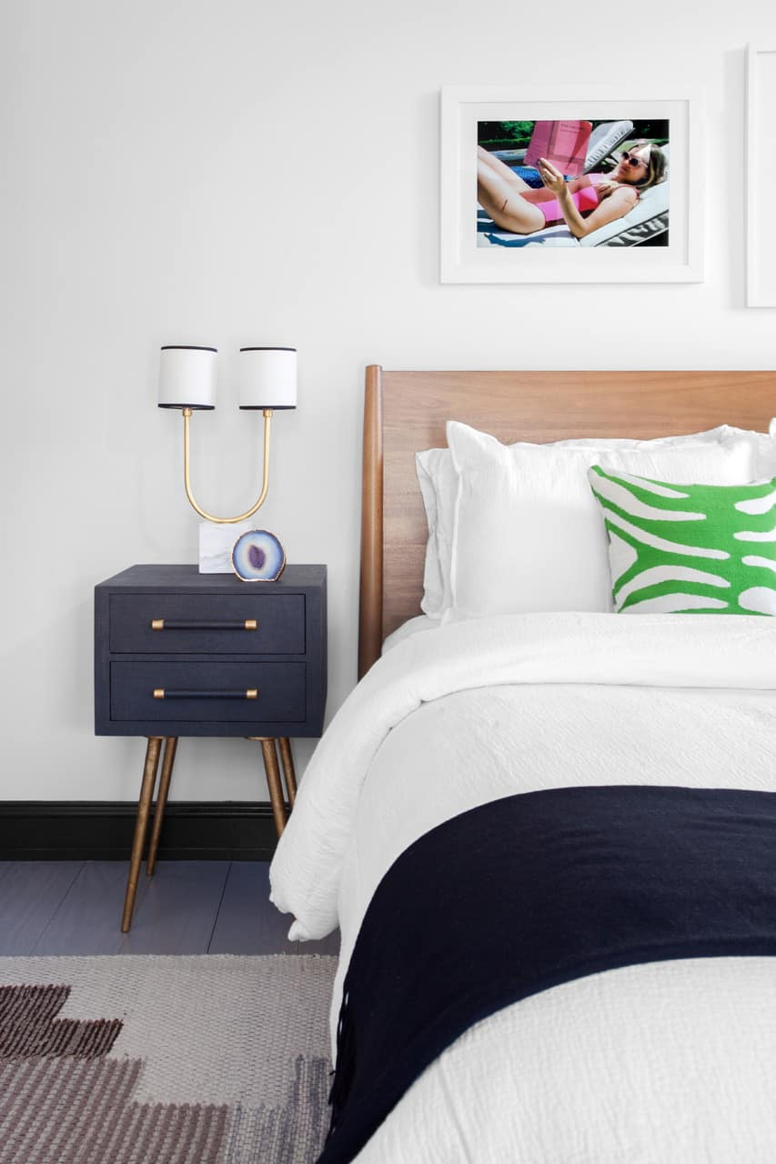 Sophisticated nightstands and details keep it chic still