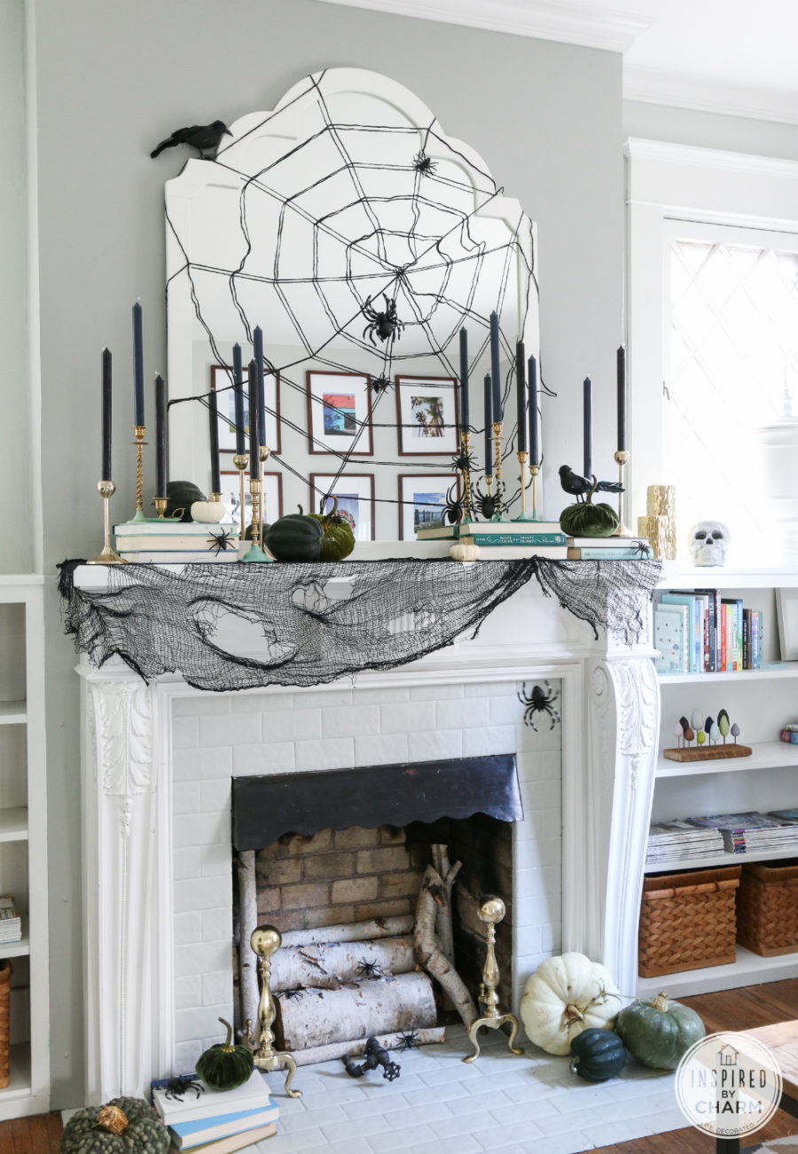 Stylish Halloween mantel